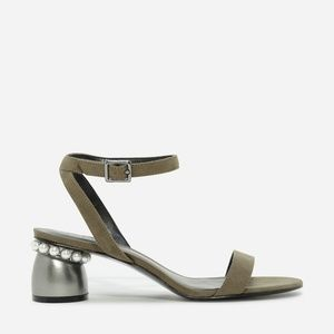 Like NEW Olive Strap Pearl Detail Sandals, Sz 7.5